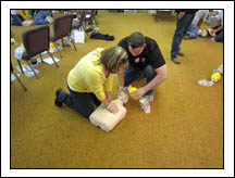 EMT students practice AHA HCP CPR with BVM