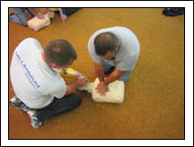 EMT students learning CPR